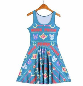 Sailor-Moon-8-Bit-Anime-Otaku-Teal-Moon-Prism-Power-Cat-Luna-Skater-Dress