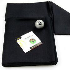 BLACK Hainsworth Elite-Pro 7ft Pool Table Bed Cushion Cloth Set + Silver 8 Ball