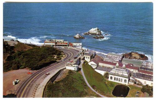 1960s SAN FRANCISCO AERIAL VIEW CLIFF HOUSE/&SUTRO BATHS~ORIGINAL UNUSED POSTCARD