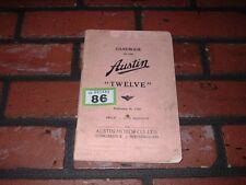GENUINE AUSTIN TWELVE 12 OWNERS MANUAL / HANDBOOK. 1938