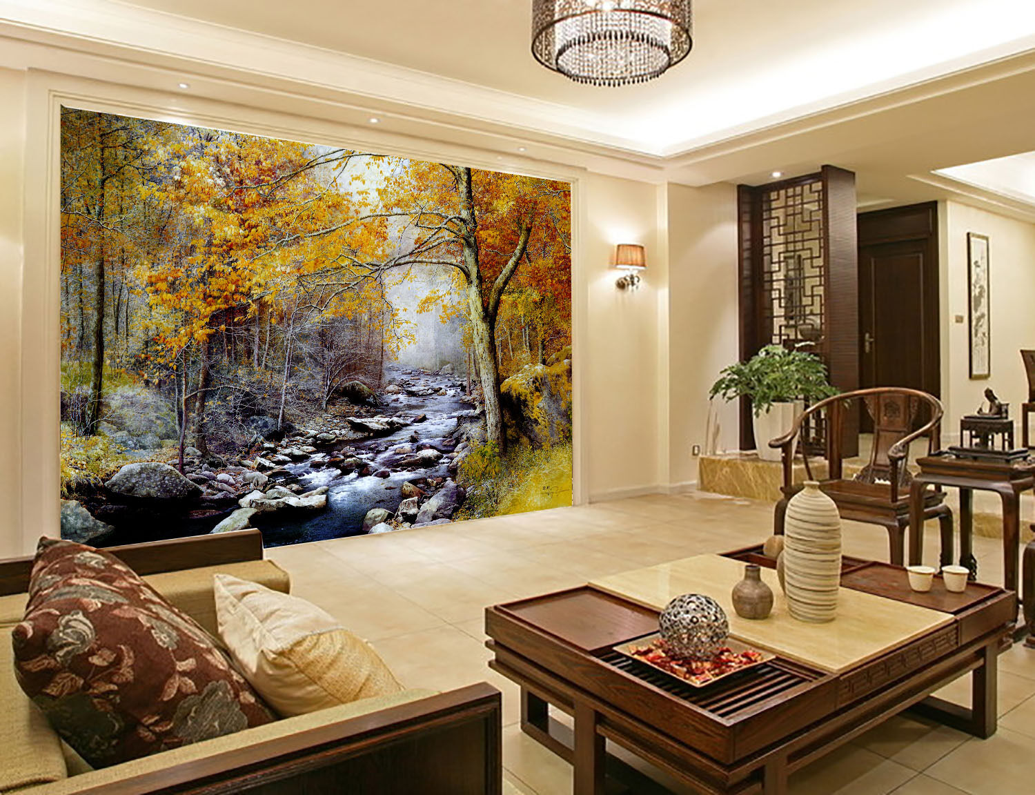 3D Stone River Forest Paper Wall Print Wall Decal Wall Deco Indoor Murals
