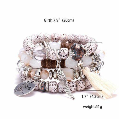 Boho Multilayer Natural Stone Crystal Bangle Beaded Bracelet Womens Jewellery