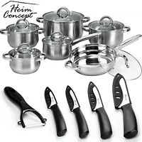 Heim Concept 12 Piece Cookware Set Stainless Steel Pots Pans + Ceramic Knife Set