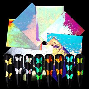 3D-Nagel-Aufkleber-Vinyls-Decals-Transfer-Laser-Butterfly-3D-Nail-Art-Dekoration
