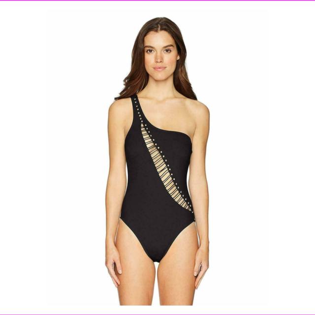 Kenneth Cole Women's Black One Shoulder Cutout Tummy One Piece Swimsuit Size L