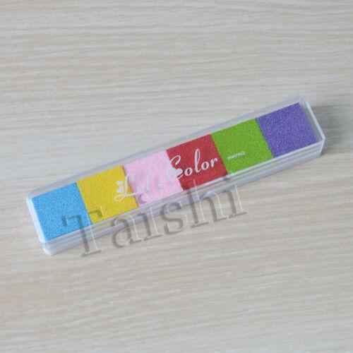 6 Farbe Stempelkisse Stempel Tinten Kissen Pad Fingerabdruck DIY Handwerk