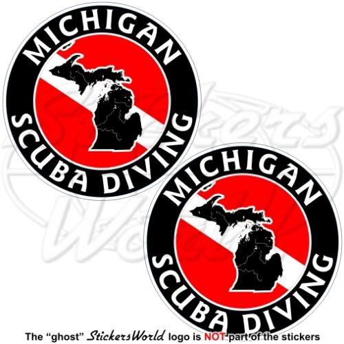 """Michigan Buceo flag-map forma Usa 75 mm 3 /"""" Circular Stickers Calcomanías X2"""