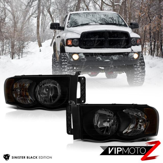 "2002-2005 Dodge Ram 1500 ""SINISTER BLACK"" Front Headlights 03-05 Ram 2500 3500"