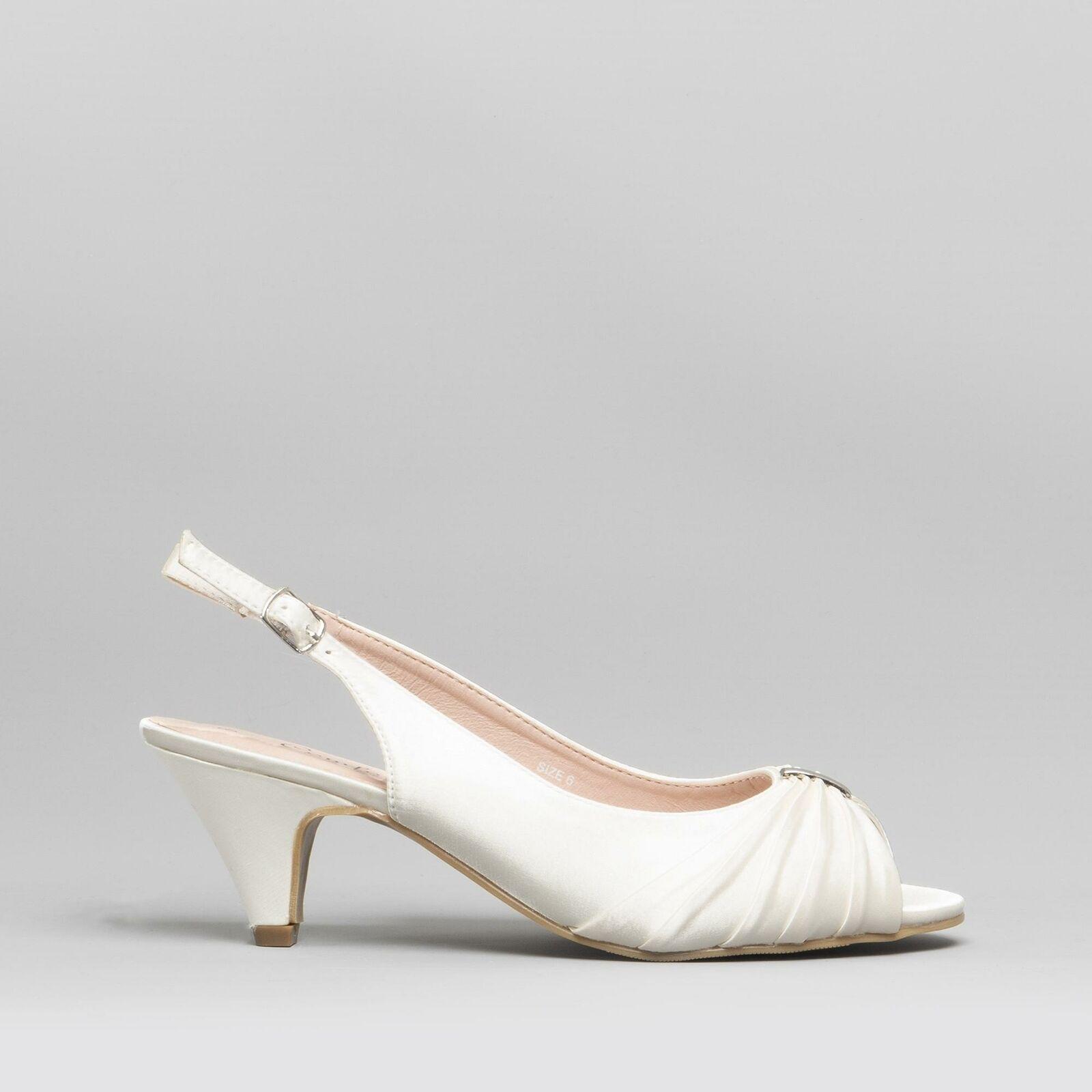 Comfort Plus TESS Ladies Womens Wide Slingback Wedding Evening Satin shoes Ivory