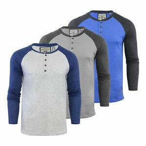 Brave-Soul-Rasmus-Hommes-t-shirt-HENLEY-col-a-manches-longues-Top-Casual