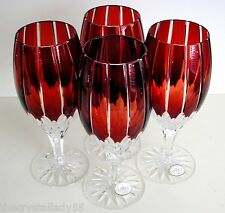 4 AJKA CASTILLE RUBY RED cased cut to clear crystal  wine ice beverage tea
