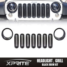 9 pcs Black Headlight Trim Front Insert Grille Cover 07-17 Jeep Wrangler JK