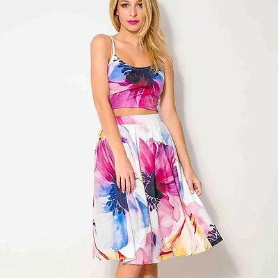 Buylane New Spaghetti Strap Crop Top Dress Printed Knee-Length Sleeveless Dress