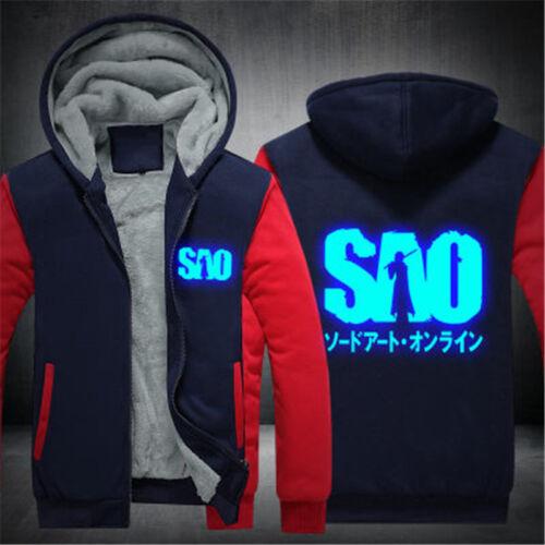 Sword Art Online SAO Luminous Thicken Warm Hoodie Sweatshirt Zipper Jacket Coat