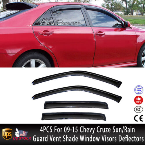 4PCS For 2009-2015 Chevy Cruze Sun//Rain Guard Vent Shade Window Visors Deflector