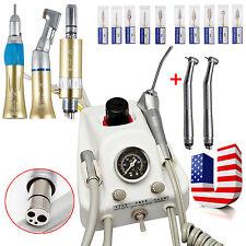 Dental Portable Air Turbine Unit+2 High 1 Low Speed Handpieces Set+Carbide Drill