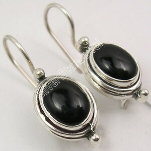 925-Sterling-Silver-Original-OVAL-BLACK-ONYX-CABOCHON-DELICATE-Earrings-1-034