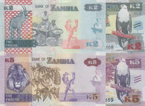 p57 UNC //p56 Zambia 2 Note Set: 2 /& 5 Kwacha 2015