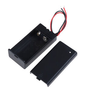 9V-Volt-PP3-battery-holder-box-dc-case-w-wire-lead-on-off-switch-cover-In-AL