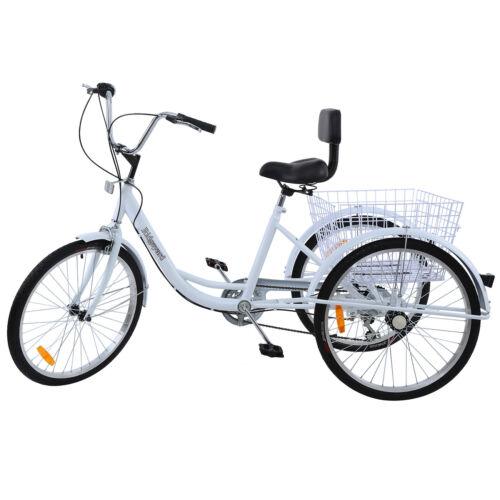 White 24 Adult Tricycle 3-Wheel 7 Speed Bicycle Trike Cruiser w/Backrest Basket