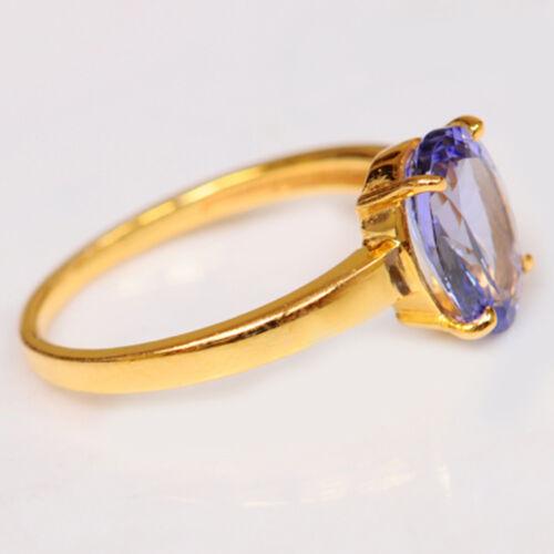 1,60Ct Ovale Form 585er Gelbgold 100/% natürliche blaue Tansanit Verlobungsring