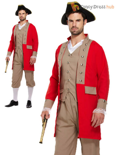 Mens Napoleon Costume 18th Century Fancy Dress Noble Man Pirate French Military