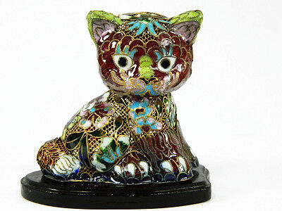 Vintage Cloisonne Enamel Copper Wire Made Lovely Cat Kitten Figurine Decoration