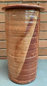 Tall-Vintage-Stoneware-Ceramic-Vase-Urn-Mid-Century-Modern-Art-Pottery-Signed