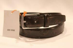 Jack Spade Brown Leather Anchor Embossed Belt Size 32 Nwt
