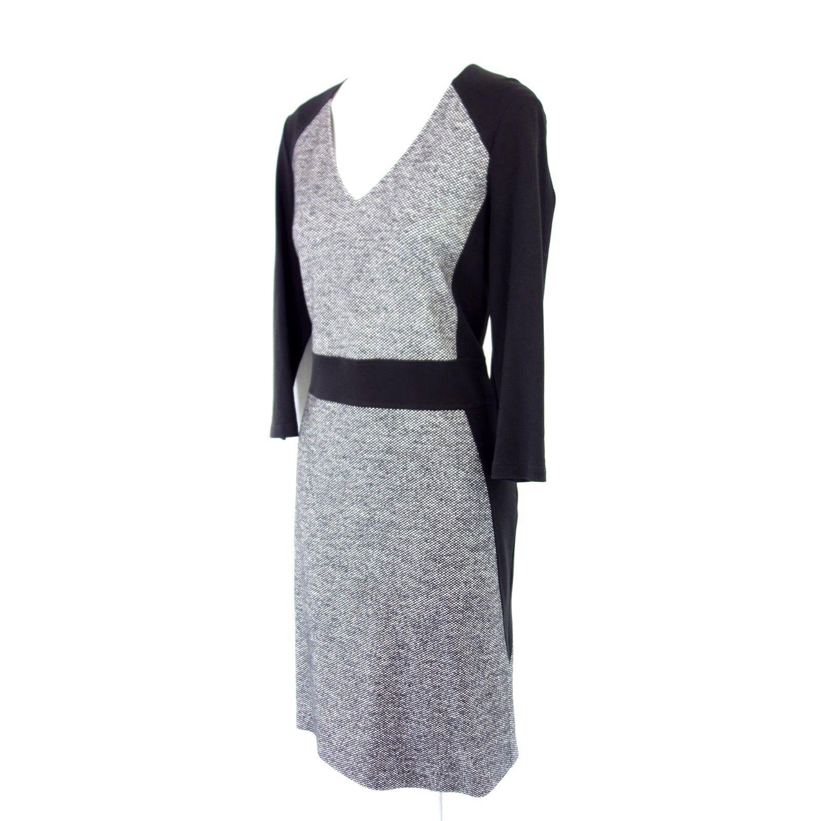 VABENE Damen Kleid 38 Schwarz Weiß Muster Etuikleid Langarm mit Wolle NP 179 NEU