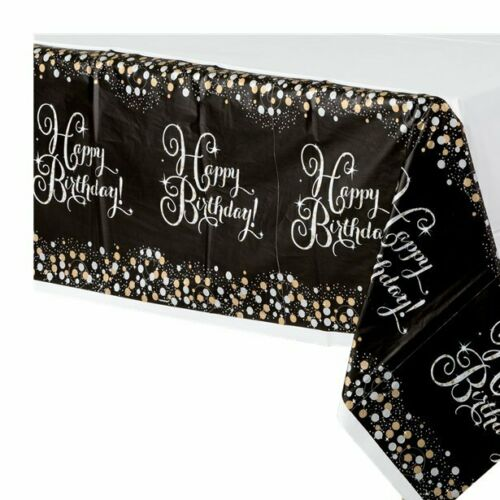 50th Birthday Black Gold Sparkling Celebration Tableware /& Decorations Variation