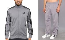New Adidas Men's Gym F14 Varsity Post Game Track Suit Jacket & Pants Grey SZ M