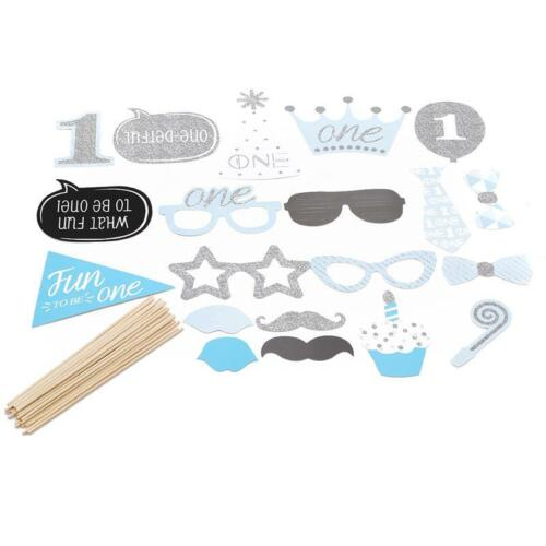 20X Boy 1st Birthday Photo Booth Props Baby Show First Party Decor Novelty Q