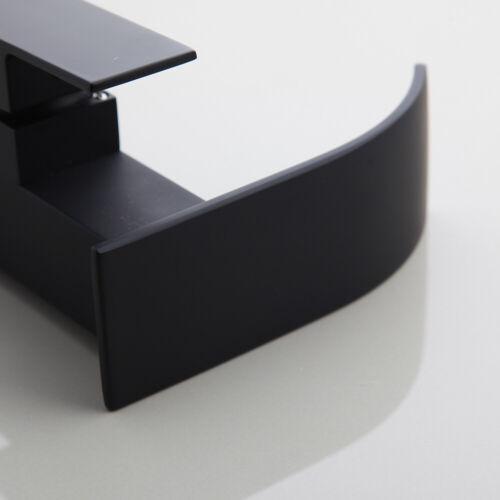 Bathroom Faucet Black Deck Mounted Waterfall Spout Single Handle Basin Mixer Tap