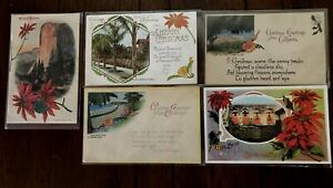 Lot-of-5-Christmas-Greetings-from-California-Vintage-1900-Postcards-s936