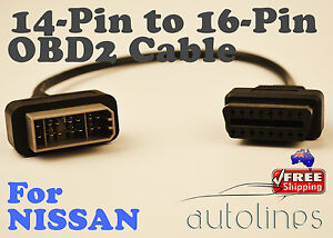 14-PIN-To-16-PIN-OBD2-OBDII-Cable-Diagnostic-Adapter-Connector-Fits-NISSAN