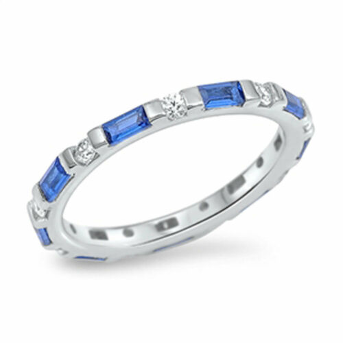 Women Silver White /& Simulated Blue Sapphire CZ Baguette Eternity Band 3MM