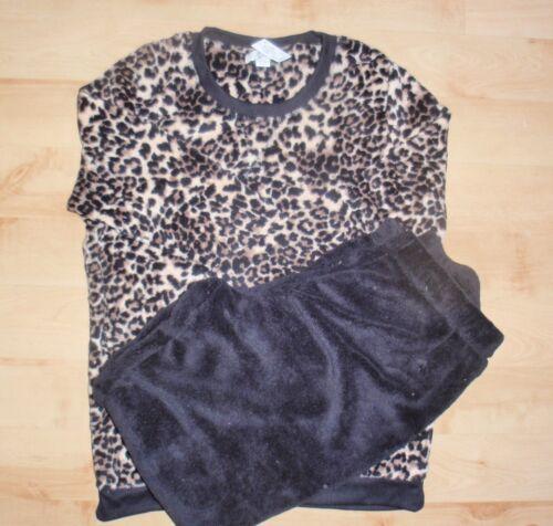 NWT Primark Ladies Girls LEOPARD PRINT fleece lounge pj bedtime set UK 14-20