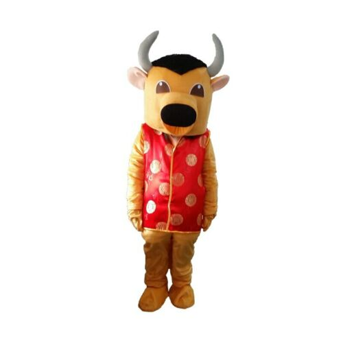 Cow Mascot Costume Bull Calf Ox Animal Cosplay Milk Fancy Dress Adults Size Suit