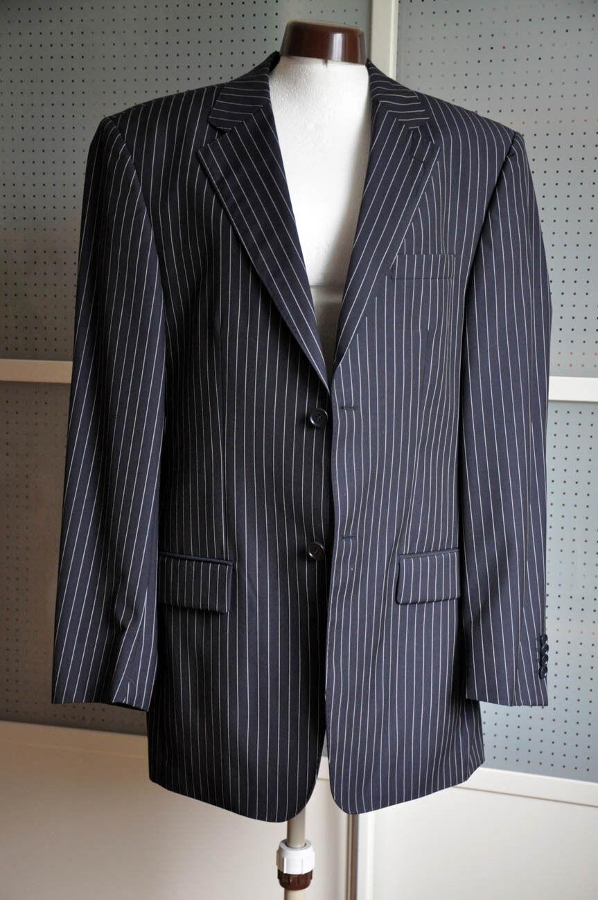 Geschäft Nadelstreifen Anzug Rene Lezard Pure New Wool Gr. schwarz