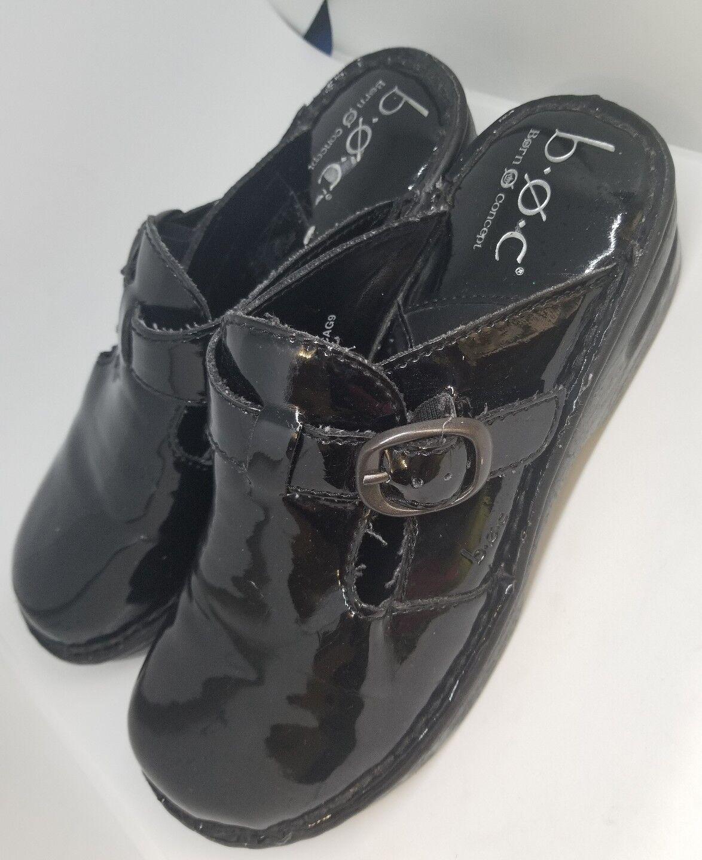femmes BORN B.O.C. noir PATENT LEATHER CLOGS   MULES Taille 7 38 M