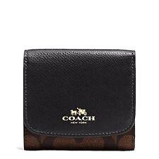 NWT Coach Signature PVC Small Wallet Brown/Black F53837~Pretty!