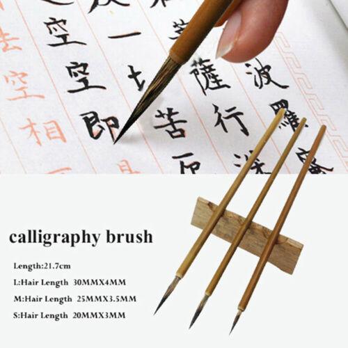 3Pcs Weasel Hair Brush Pen Hook Line Paint Brush Chinese Calligraphy Brush Art