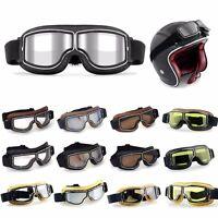 Pu Leather Eyewear Goggles Aviator Pilot Glasses Retro Helmet Drive Motorcycle U