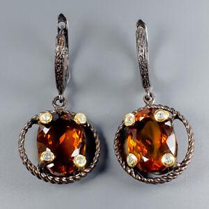 Handmade25ct-Natural-Cognac-Quartz-925-Sterling-Silver-Earrings-E35467