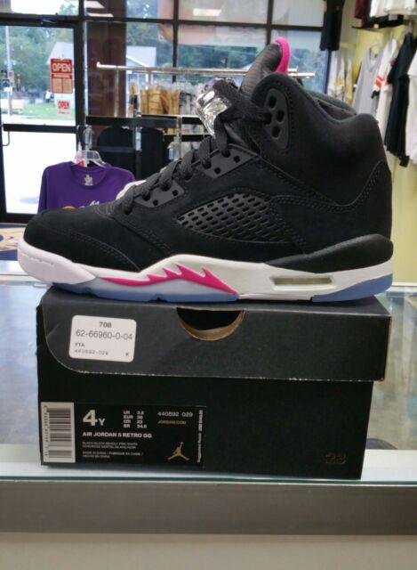 7f288eb6f8c7eb Kids Air Jordan 5 V Retro GS Deadly Pink Black White 440892-029 US ...