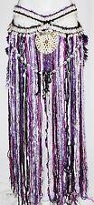Burning Man Hippie Tribal Gyspy Belly Dance Dancing Fringe Cowrie Tassel Belt