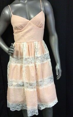 NEW BETSEY JOHNSON Gorgeous Peach White Lace Dress Sz 6 Spaghetti Straps W/Slip
