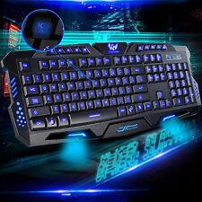 3 Led Backlit Backlight Illuminated USB Multimedia Ergonomic Gaming Keyboard UK