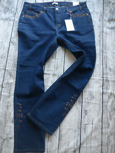 Sheego-Women-Pants-Stretch-Jeans-Size-44-to-58-Embroidery-Dark-Blue-299